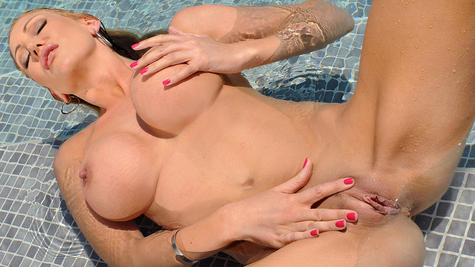 Perky Wet Pearls: Solo Milf's Titty Play in the Pool_main