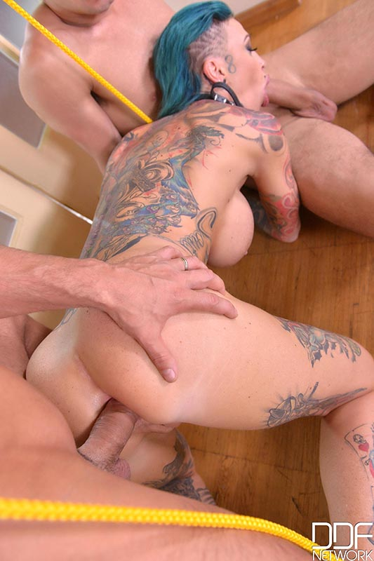 Pierced pussy penetrated by chain and pencil body piercing
